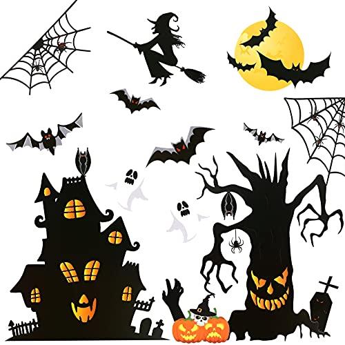 KINBOM 6 Hojas Pegatinas de Ventana de Halloween Grande Halloween Decoracion Ventana Decoración Aterradora para Hogar Fiesta Ventanas de Cristal (Castillo Árbol Murciélago Calabaza Araña Tumba Bruja)