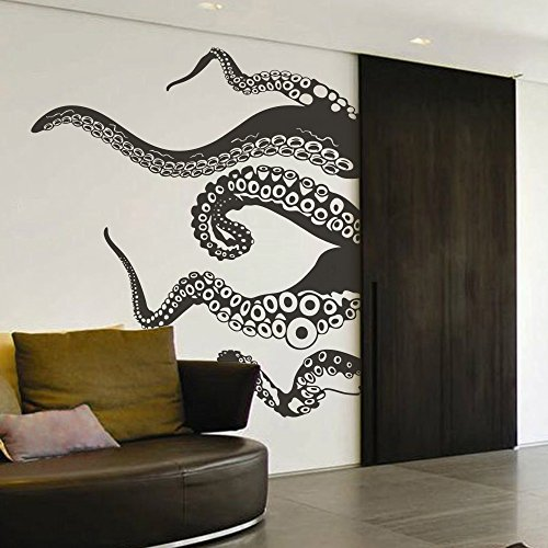 Tentacles Wall Decal Kraken Octopus Tentacles Wall Sticker Sea Animal Wall Decal Mural Home Art Decor Black by DigTour WallArt