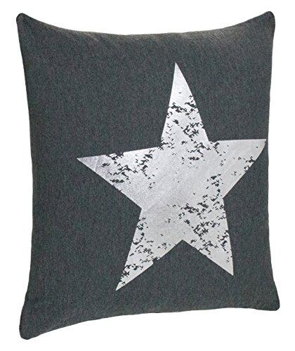 Brandsseller Dekokissen Zierkissen Couchkissen Sofakissen Motivkissen Sterndruck - mit Füllung kuschelig und weich - Größe: 45x45 cm - Anthrazit/Silber