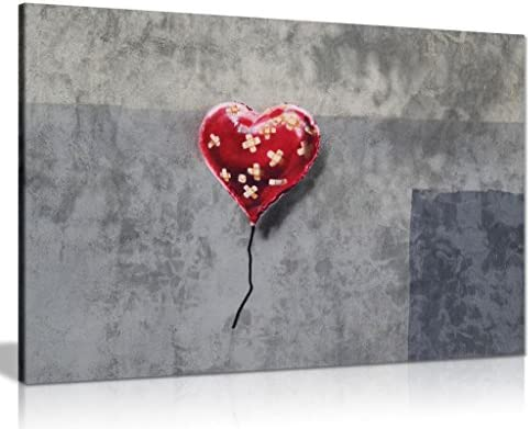 Bandaged Heart Balloon Banksy Canvas Wall Art Picture Print 36x24in product image
