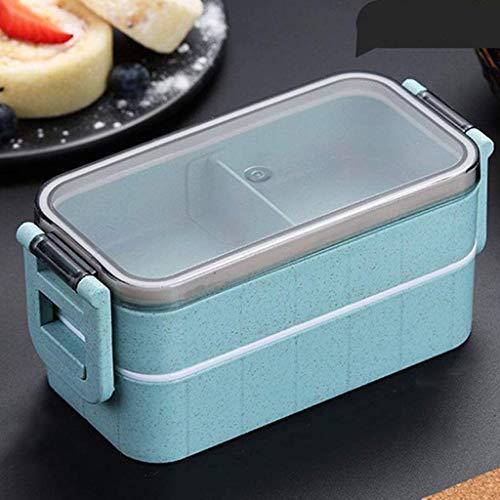 Lunch Box met vakken Adult es For Kids Volwassenen Work School Food Container for Magnetron Vriezer Vaatwasser (Kleur: Beige) Geïsoleerde draagbare lunchbox. (Color : Blue)