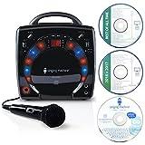 Singing Machine SML283BK - Reproductor de CDG portátil de Karaoke Plug-n-Play con CD extra...