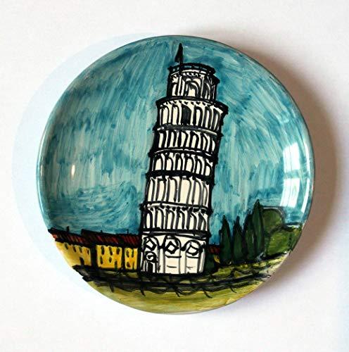 Turm von Pisa-Keramik Teller von Hand dekoriert Durchmesser von cm 14,3 hoch cm 2,8, bereit, an der Wand zu hängen.Made in Italy,Toskana,Lucca.Erstellt von Davide Pacini.