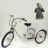 Vidanis Best Choose - Triciclo para adulto (3 ruedas, 6 marchas, 24', con cesta)