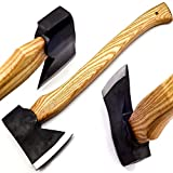 Nooraki TH5578 Handmade Tactical Bearded Viking Tomahawk Axe/Hatchet Carbon Steel 16.5 INCHES Hickory Handle with Leather Sheath/Sharp Blade (16.5)