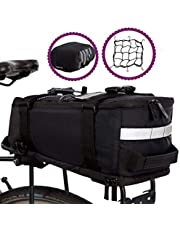 BTR Deluxe fietstas, bagagedragertas, waterdichte en reflecterende beschermhoes, zwart, met geïntegreerde schouderriem, reflectoren. Recyclebare verpakking