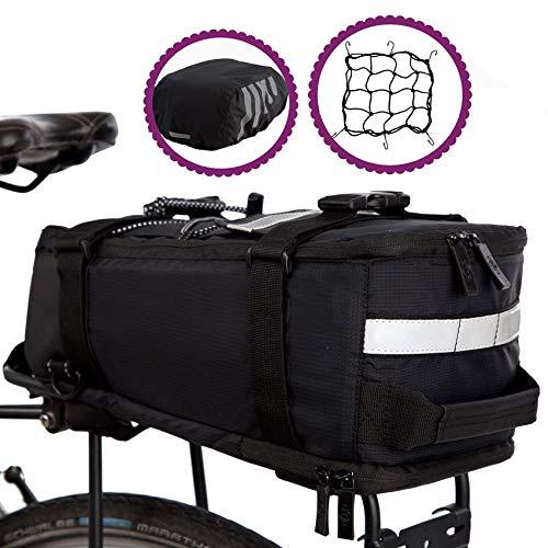 BTR Deluxe Fahrradtasche Gepäckträger Tasche wasserdicht und reflektierender Schutzhülle - Schwarz -mit integriertem Schultergurt, Reflektoren. Recycelbare Verpackung
