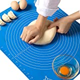 19.7''x15.8'' Non-Stick and No-Slip Silicone Baking Pastry Mat 50x40cm Fondant Mat Dough Rolling Mat with Measurement BPA Free (Blue)