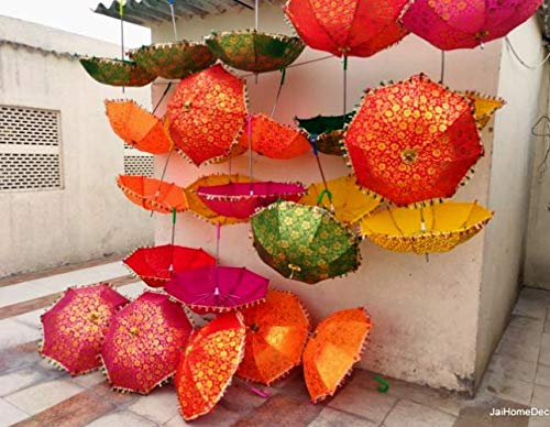 Womencrafts 10 Pcs Mix Wholesale Lot Indian Handmade Colorful Wedding Umbrella Lot, Decorative Beautiful Multi Color Sun Parasol, Cotton Fabric Umbrellas