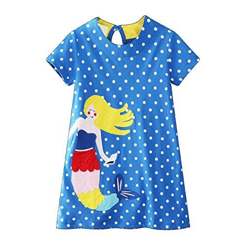 Ropa Infantil Vestido De Niña Manga Corta Casual Algodón Estampado De Dibujos Animados Patrón De Sirena Vestido Azul De Lunares Niña Camiseta 1-8 Años