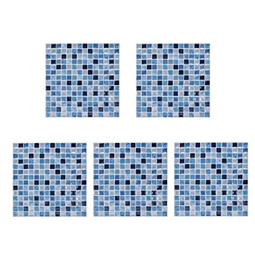 NIDONE Azulejos De Mosaico Pegatinas Pared 3D Palillo De Auto Adhesivo del Papel Pintado del Diseño Cuadrado Azul Desmontable para Backsplash De La Cocina del Cuarto De Baño 5pcs