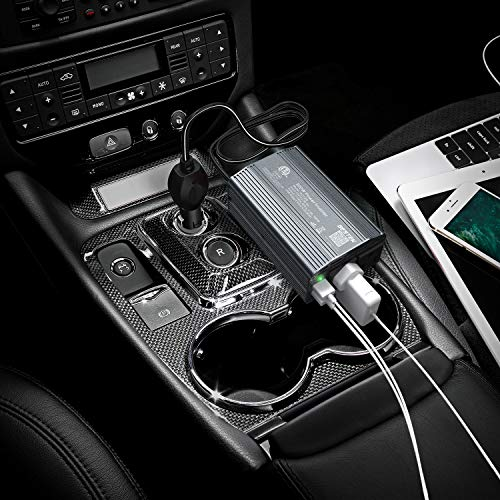 BESTEK 300W Power Inverter DC 12V to 110V AC Car Inverter with 4.2A Dual USB Car Adapter (Gray)