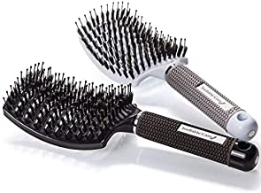 Boar Bristle Hair Brush set - Curved and Vented for Wet or Dry Detangling Hair Brush for Men and Women Long, Thick, Thin, Curly & Tangled Hair Vent Brush Gift kit