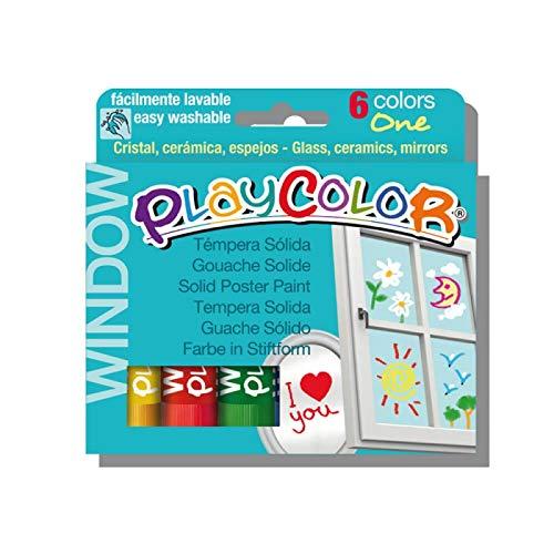 Playcolor Window One - Pintura Para Cristales - 6 colores surtidos - 02001 (Juguete)