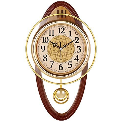 NgFTG Europäische Vintage Pendeluhr, Leise Schaukel Funk-wanduhr,Wohnzimmer Ohne Ticken Qualität-Quarz Uhr Wohnkultur-d 40cm(16