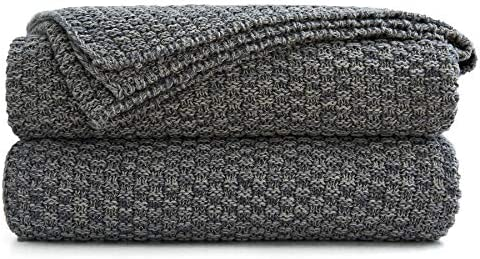 Best Longhui bedding Grey Knitted Throw Blanket for Couch - Soft, Cozy Machine Washable 100% Cotton Sofa