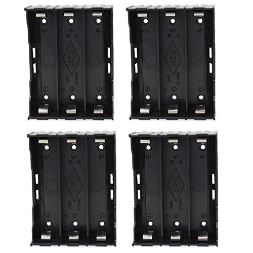 KEESIN 3.7V 18650 Batteriehalter Fall Kunststoff Batterie Abdeckung Aufbewahrungsbox mit Pin (3 Solts × 4 Stück)