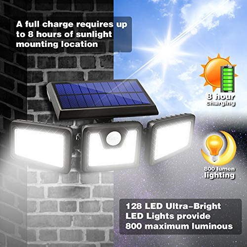 Solar Lights Outdoor, AmeriTop 128 LED 800LM Wireless LED Solar Motion Sensor Lights Outdoor; 3 Adjustable Heads, 270° Wide Angle Illumination, IP65 Waterproof, Security LED Flood Light- 2 Pack