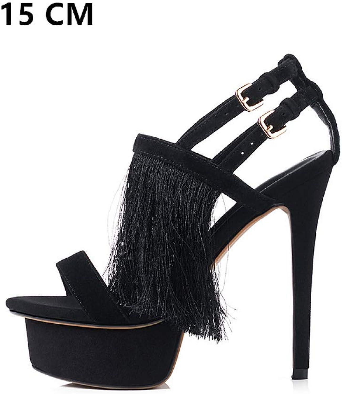 JRSHODA Frauen Fringe High Heels Sandalen Plus Größe Echtes Leder Peep Toe Schuhe Schwarz Open Toe Heels Plateau Sandalen