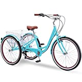 sixthreezero Body Ease 26 Inch 7-Speed Adult Tricycle with Rear Basket, Teal