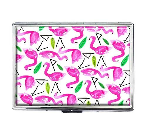 Niedlicher Flamingo-Zigarettenetui, modisch, personalisierbar, silberfarben, Edelstahl, große Zigaretten, Spender, Karten-Box, Aufbewahrungsbox für Damen und Herren