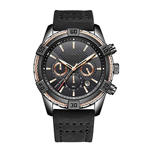 N·XHXL Fashion Trends Quartz Watches for Men, Multifunction Military Waterproof Luminous Sport Casual Wrist Watch with Black Dial Brown Leather Strap, Best Gifts for him