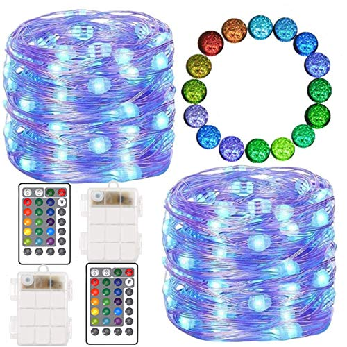 FANSIR LED String Lights, 2 Set 100 Led Battery Powered Multi Color Changing String Lights with Remote, 4 Modes Twinkle Fairy Lights for Indoor Outdoor Garden Party Christmas Decor (16 Colors)
