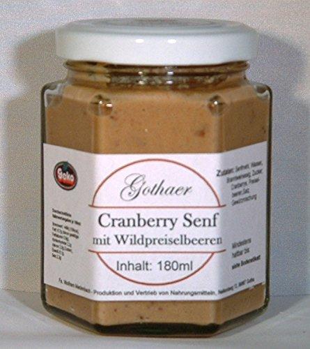 Original-Gothaer-Senf im Sechseckglas a´180ml - OVP - in Varianten (Cranberry-Senf mit Wildpreiselbeeren)