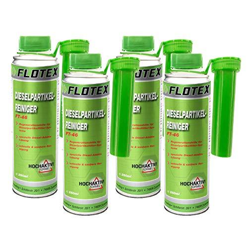 Flotex Diesel Partiklefilter Reiniger, 4 x 250ml Additiv DPF Dieselpartikelfilter