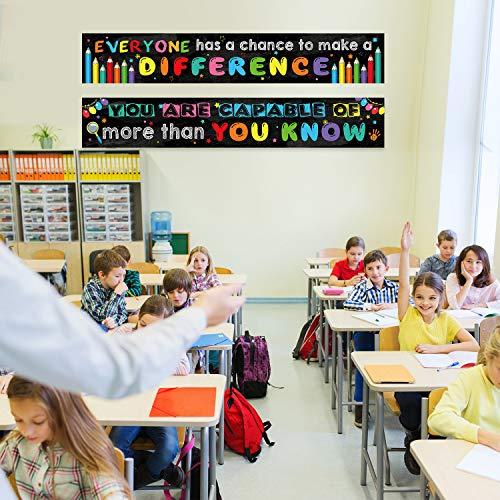 2 Pack Motivational Classroom Banner Poster Positive Banner Inspirational Banner for Students Educational Teacher Classroom Decorations Banner with 40 Glue Points (Black) Photo #2