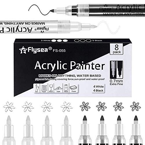 HUOHUOHUO Premium Acrylstifte Marker Stifte,Acrylstifte Feine Spitze Steine,Premium Acrylstifte,Weiß Schwarz Lack Stifte,Farbe für Steine Bemalen,Marker Paint Pen