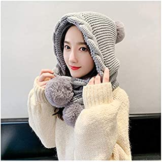 JCY Winter ladyHat and Scarf,Ladies Winter Siamese Fashion Plus Velvet Warm Thick Warm Knit hat,Outdoor Mandatory,5 Colors (Color : Gray)