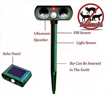DUVERT 2pcs Répulsif à Ultrasons Pest Repeller Solaire/Ultrasonique pour Animaux Chat,Chien,Renard