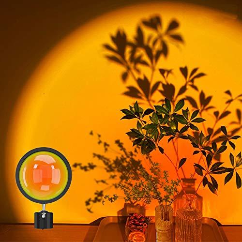 Lámpara de proyección de puesta de sol, luz roja romántica con luz de luz roja con USB moderno soporte de piso luz nocturna para sala de estar, dormitorio (sin soporte) (rojo puesta del sol)