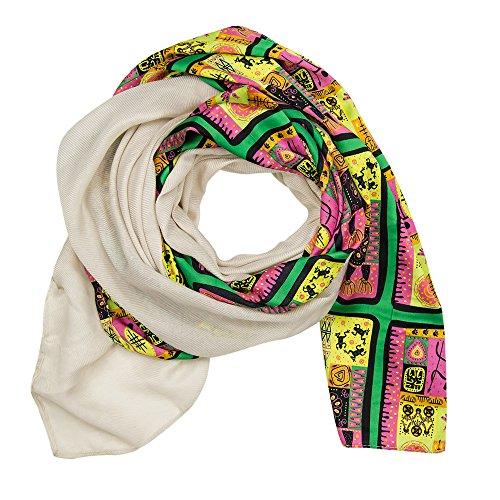 MANUMAR Schal Afrika Tiere grün bunt Schal Damen Schal Tuch Sommer Frühling Geschenk Freundin Damen