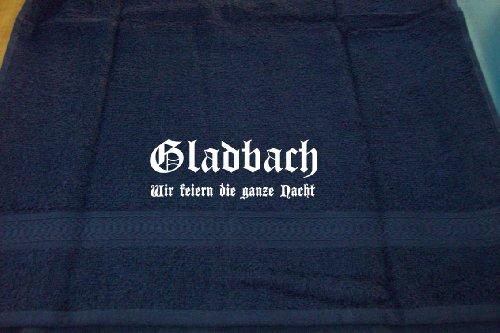 Gladbach - wir feiern die ganze Nacht; Städte Badetuch, dunkelblau