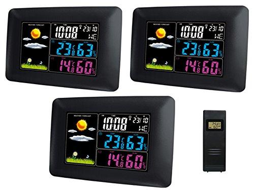 froggit Funk Wetterstation WS60 Triple (3 Displays), Vollfarb Display, Wettervorhersage, Funkuhr, Temperatur, Luftfeuchte, Wecker