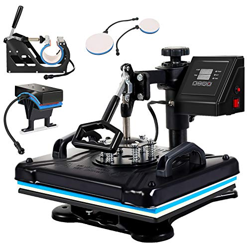 Angoo Upgraded 5 in 1 Heat Press, 360-degree Rotation Digital Combo Heat Press Machine 12' x 15' Multifunctional Swing Away Heat Transfer Machine for T-Shirts, Hat, Mug, Mouse Pads, Tablecloth,Black