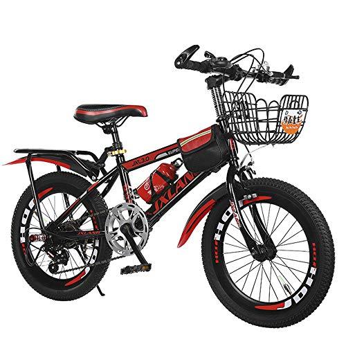 qaz Nuova Mountain Bike per Bambini 23 26 Bicicletta da Bambino E Bambina da 28 Pollici Bici Single Speed E 6 velocità Bici da Bambino in Acciaio al Carbonio Ad Alta velocità,Red-28in