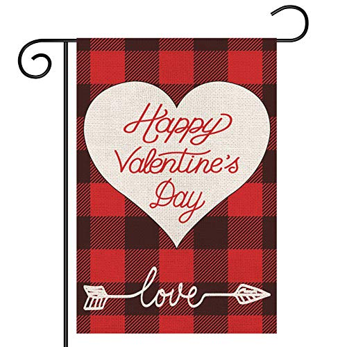 Valentines Garden Flag, Buffalo Plaid Love Heart Arrow Yard Flag, Double Sided Burlap Flag, Valentines Day Garden Banner for Outdoor/Yard/Farmhouse/Home/Wedding/Anniversary Decor, 12.5x18 Inch