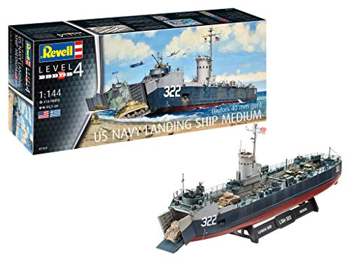 Revell- US Navy Landing Ship Medium (Bof Maqueta Fiel al Original para avanzados, Color Plateado (RV05169)