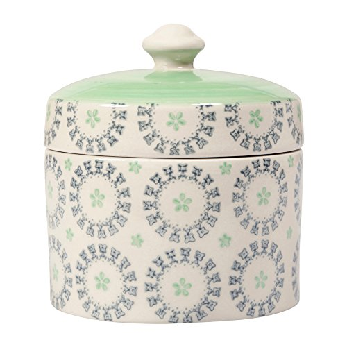 Sema 98756- Scatola in Ceramica Alice, Verde e Bianco, 12,2x 12,2x 12,2cm