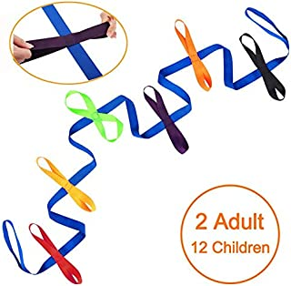 Accmor Walking Rope for Preschool Toddlers Kids Line Rope for Safety Walking Classroom Kinder Garden Daycare Guiding Shape Rope with Colorful Ring Handles to Walk Outsides (12 Children and 2 Adults)