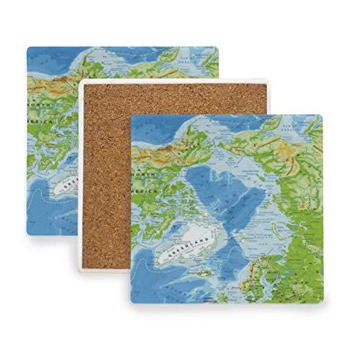 PANILUR Islandia Mapa Físico del Océano Ártico Altamente detallado Alaska América Asia Atlántico Norte Bering,Posavasos de cerámica,Base de cojín para Taza de café
