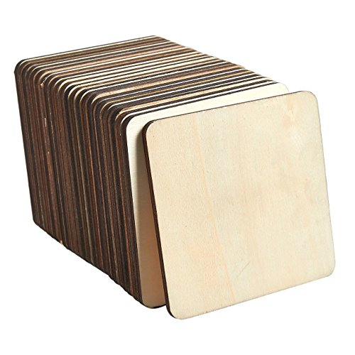 Holz Untersetzer–24er Pack quadratisch Holz Drink Trinkbecher Untersetzer, unlackiert Holz Untersetzer für Home Küche, Büro Schreibtisch, 9,8x 9,8x 0,5cm