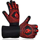 Homemaxs BBQ Gloves,Oven Gloves1472℉ Extreme Heat Resistant, Food Grade Kitchen Grill Gloves, Silicone Non-Slip Cooking Gloves for Barbecue, Cooking, Baking, Welding, Cutting, 14 Inch
