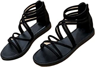 Fulision Women's Sandals Summer Non-Slip Beach Shoes Zipper Cross Belt Sandals