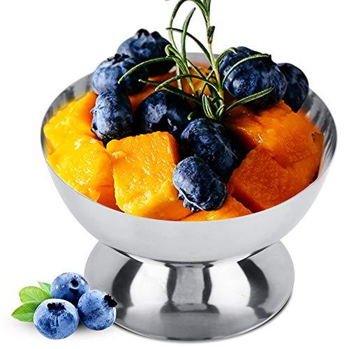 Tianhaik RVS Dessert Bowls Ijs Fruit Cocktail Kort/Tall Stemmed Bril Hotel Serveerschaal Bowls Short ZILVER