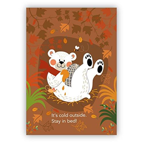 Mooie winter herstelkaart met zoete beeren: het is koud outside. Stay in bed. • Mooie wenskaart met envelop, hoogwaardig en mooi. 16 Grußkarten