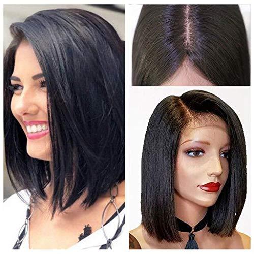 HNWNJ Peluca de pelo humano con encaje frontal para mujer, 13 x 4, pelo liso, color negro, peluca de Bob corta, parte media, aspecto natural, para uso diario (tamaño: 8 pulgadas)